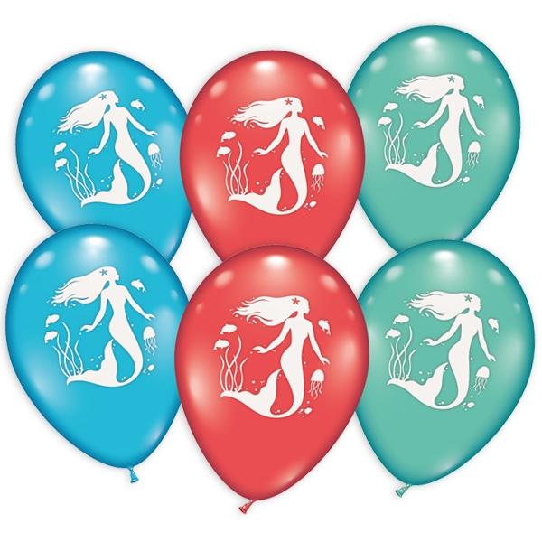 Meerjungfrau-Ballons im 6er Pack als Deko für das beliebte Partymotto