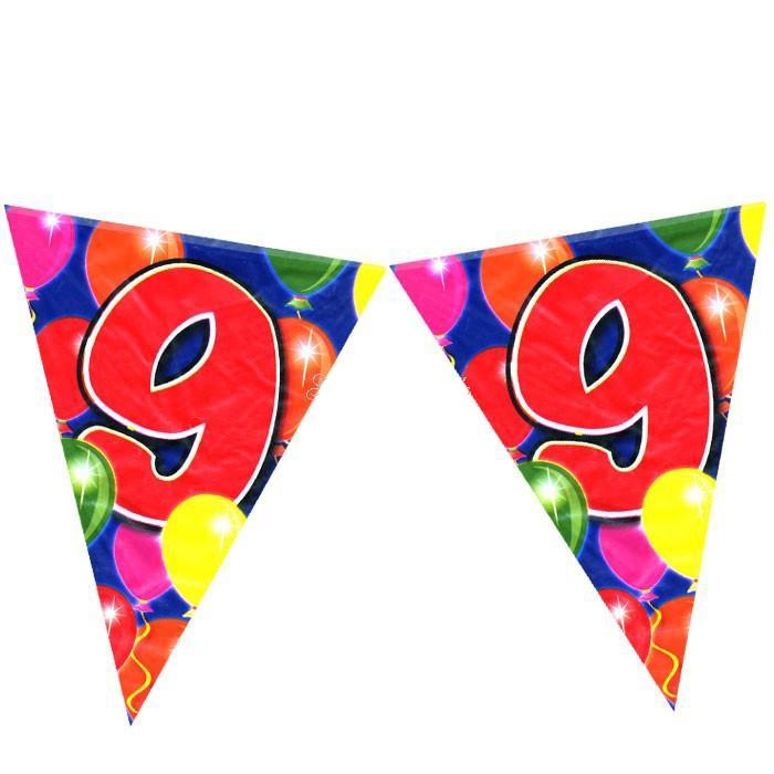 Wimpelkette zum 9.Geburtstag im Ballon-Design 10m