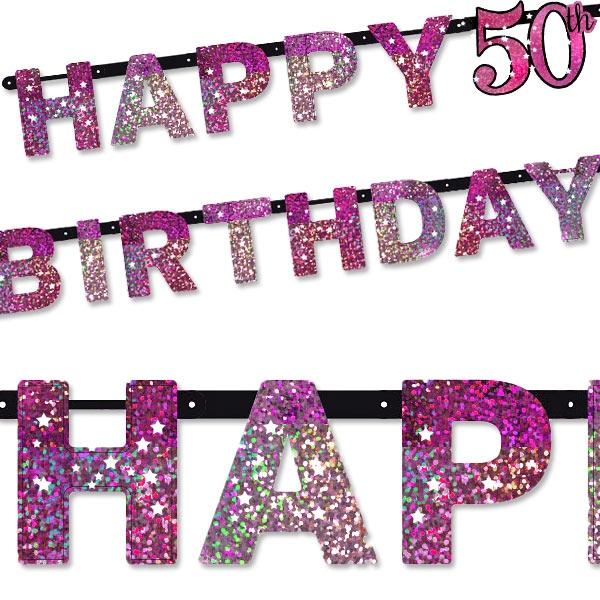 Sparkling Celebr. Pink Zahl 50 Happy Birthday, 2,13m