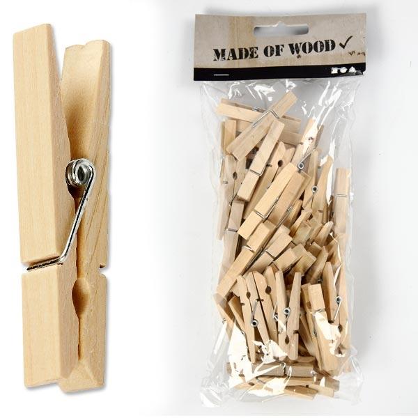 Holzklammern aus Birke, 50 Stück, 4,8cm x 1cm, zum Beispiel zum Basteln und Bemalen