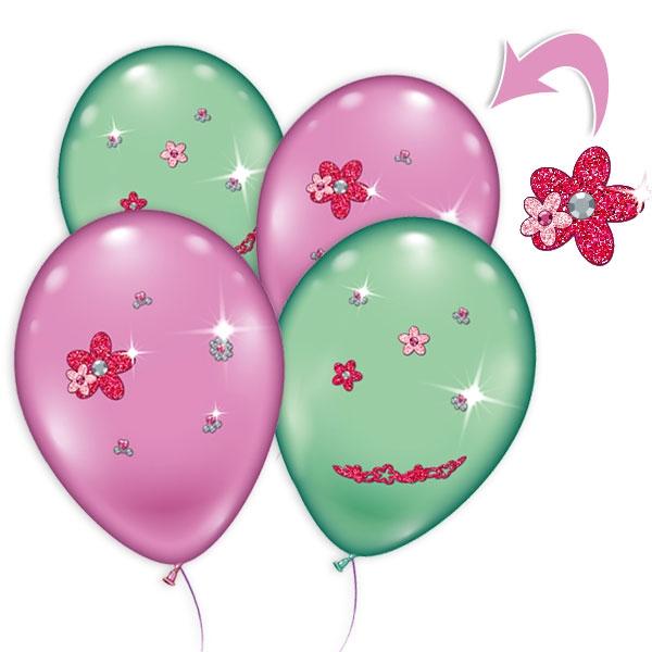 4 Luftballons mit Strass-Steinchen, pink + grün, Ø 23-25cm