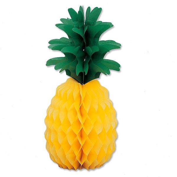 Ananas Wabendeko, exotischer Blickfang, 35cm, Papier, 1 Stück
