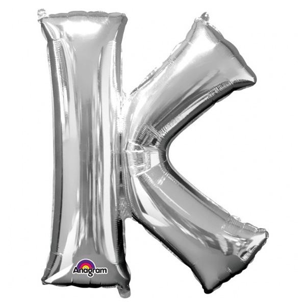 """Folienballon Buchstabe """"K"""" - Silber für personalisierte Ballondeko, 83cm"""