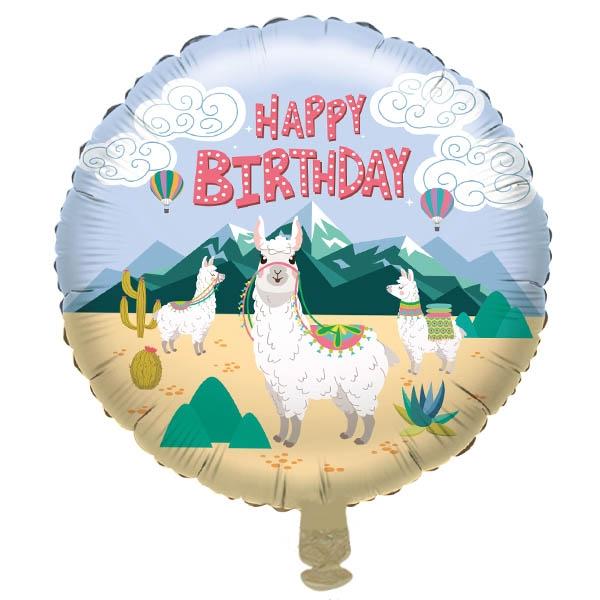 "Folienballon ""Happy Birthday"" mit Motiv niedliche Lamas, 1 Stück"
