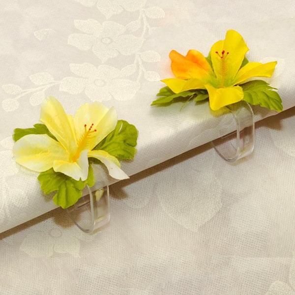 Tischtuchklammern 4er Pck, mit Blumen, 8cm