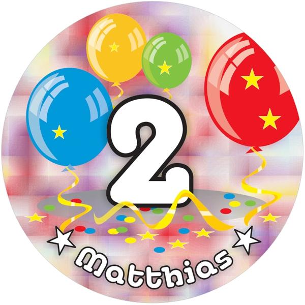 Ballon-Tortenaufleger 2. Geburtstag mit Name, Alter – rund