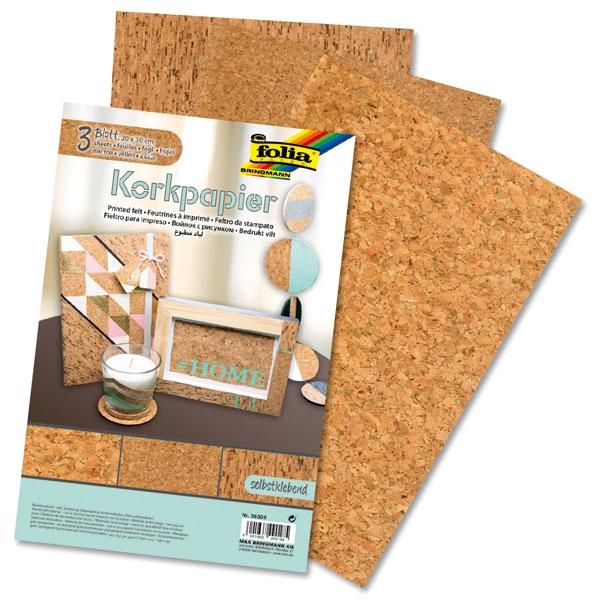 Kork Bastelpapier, selbstklebend für den natürlichen Look, 1 Set = 3 Blätter
