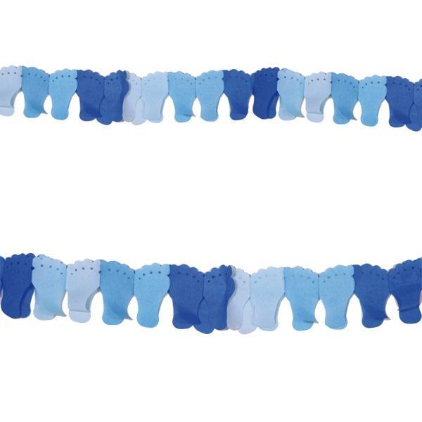 Babyfüßchen-Girlande blau für Feier zur Geburt eines Jungen, 6 m, 1 Stk.