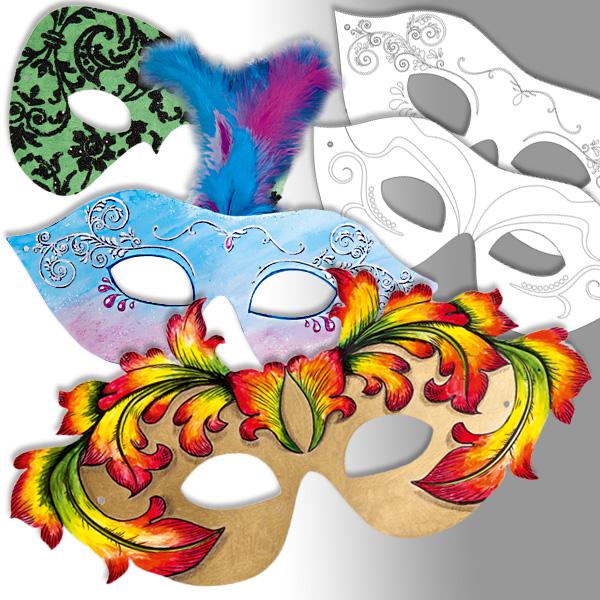 Partymasken zum Gestalten, 6 verschiedene im Pack, mit Gummiband