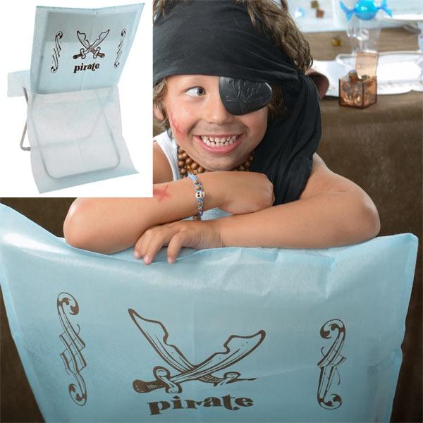 Piraten Stuhlhussen für die Kinder-Piratenparty im 6er Pack, aus Vlies