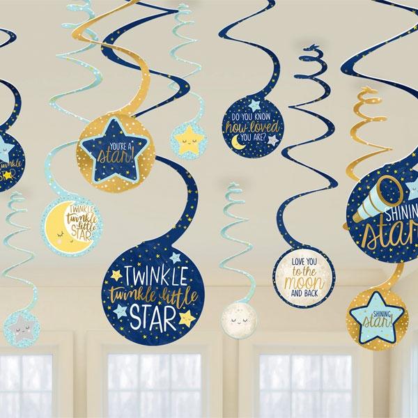 Twinkle - Little Star 12 Spiralen zur Babyparty, 60cm, Ø 13cm
