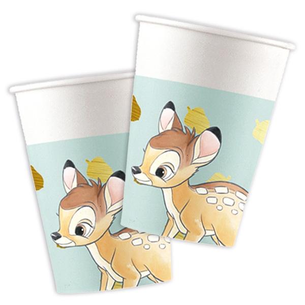 """Partybecher """"Bambi"""" 8 Stück, 200 ml, Pappbecher mit dem Reh Bambi"""