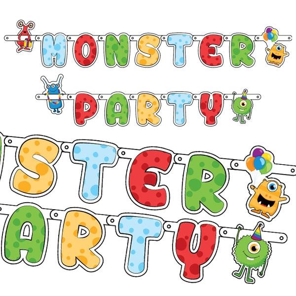 Monster Buchstabenkette für eine besonders witzige Monsterparty 1,5m