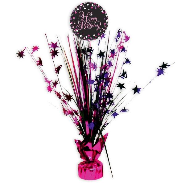 "Sparkling Celebr. Tischkaskade ""Happy Birthday"", pink, 46cm"