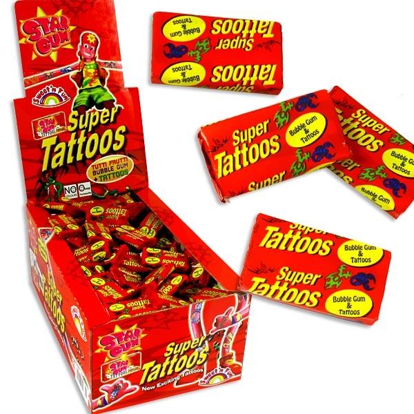 Star Gum Tattoos 200 Stück, 1,1kg, Kaugummis mit Tattoos,  Bubble Gum mit Einmaltattoos