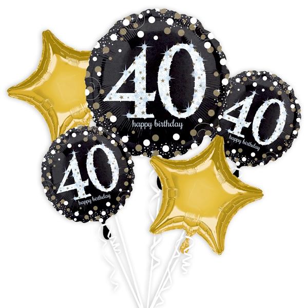 """40. Geburtstag"" Glitzer Ballon-Set, 5-teilig"