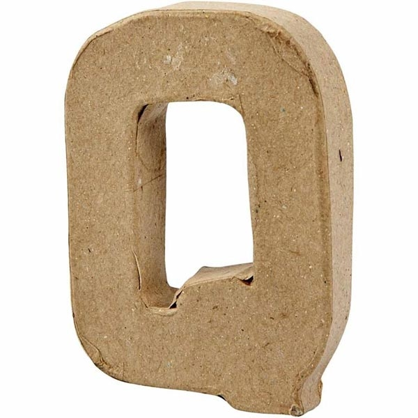 Q Buchstabe, handgearbeitet aus Pappe, zum Bemalen/Bekleben, ca. 10 cm