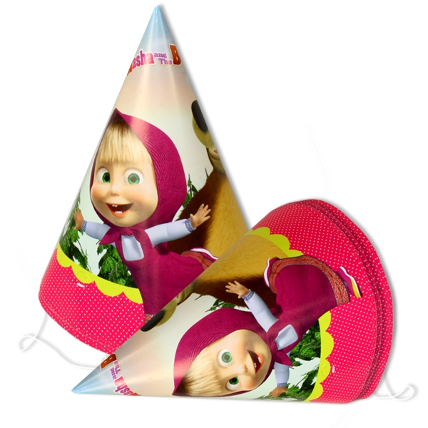 Mascha und der Bär Partyhütchen, Papphüte für Märchenparty 6er Pack