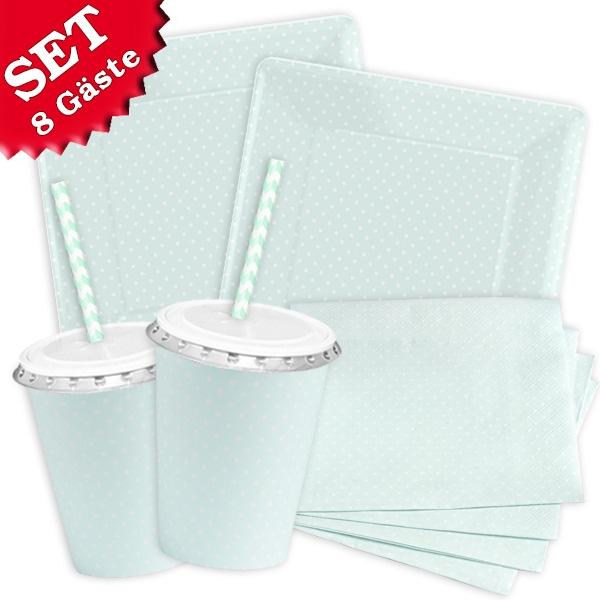 Blau Pastell - Basic Set, 60-teilig für bis zu 8 Gäste