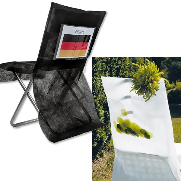 Stuhlhussen schwarz aus Vlies und Folie, 95×50cm, 10er für Stuhldeko