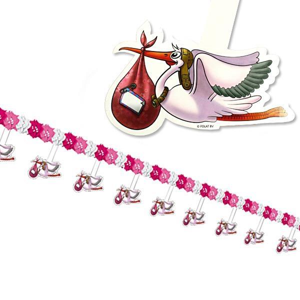 Motivgirlande mit Storch pink, 4 m, Klapperstorch-Deko für Babyparty