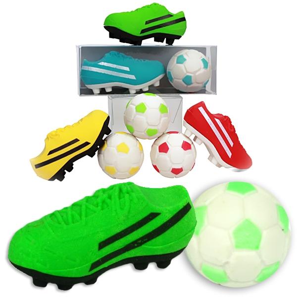 Radiergummi-Set Fußballschuh +Ball, Kleingeschenk für Fußballer