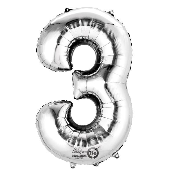 Mini Folienballon Zahl 3, silberner Zahlenballon 3. od. 30. Geburtstag