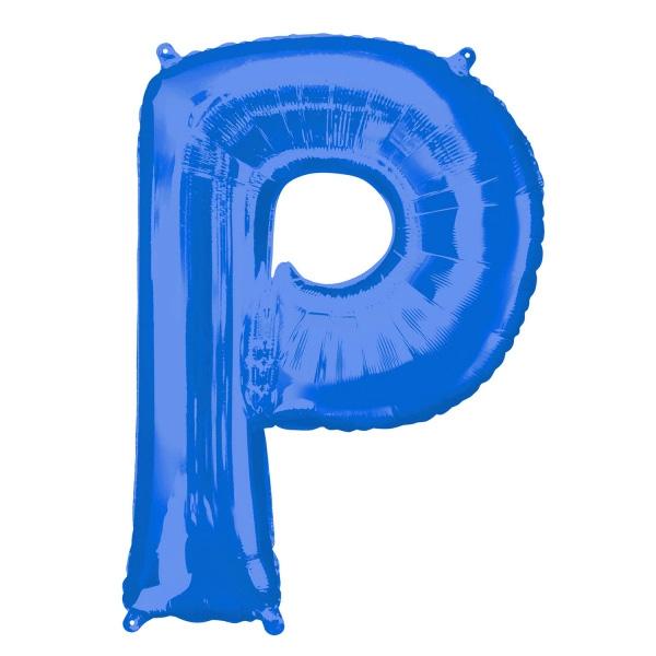 """Folienballon Buchstabe """"P"""" in Blau für Namen von Jubilaren, 81 × 60 cm"""