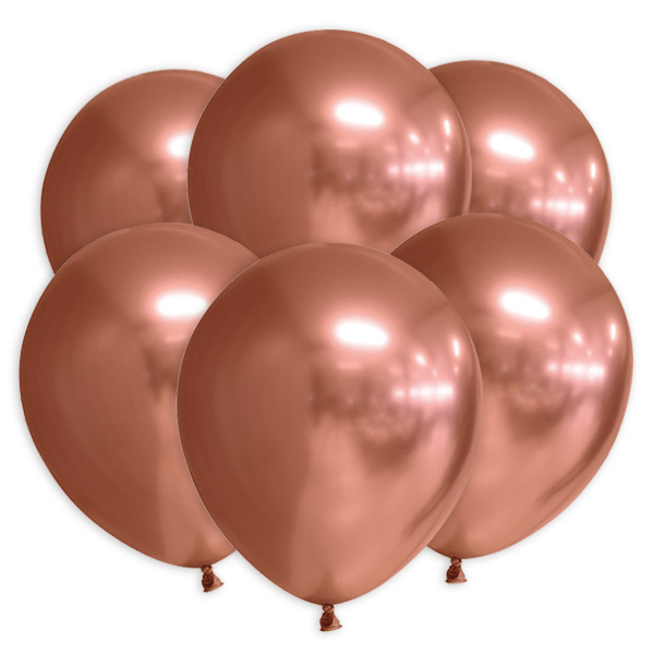 Kupferfarbene Luftballons mit Spiegeleffekt, 10 Stk., 30cm