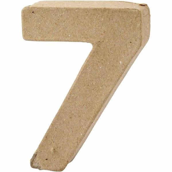 Zahl 7, handgearbeitet aus Pappe, zum Basteln, Bemalen, Verzieren