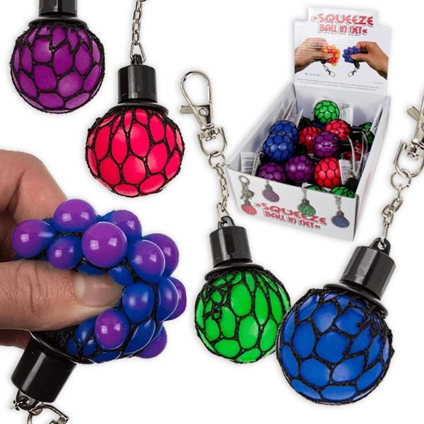 24 Schlüsselanhänger Anti-Stress-Ball im Netz, 4-fach sortiert