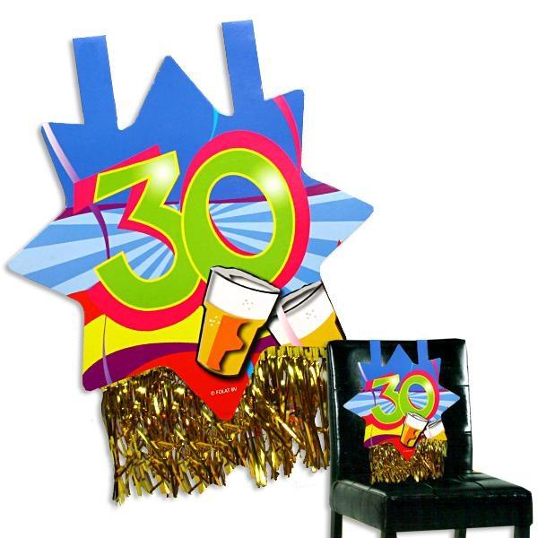 Stuhldeko zum 30. Geburtstag, ca. 31x71 cm, mit Goldfransen