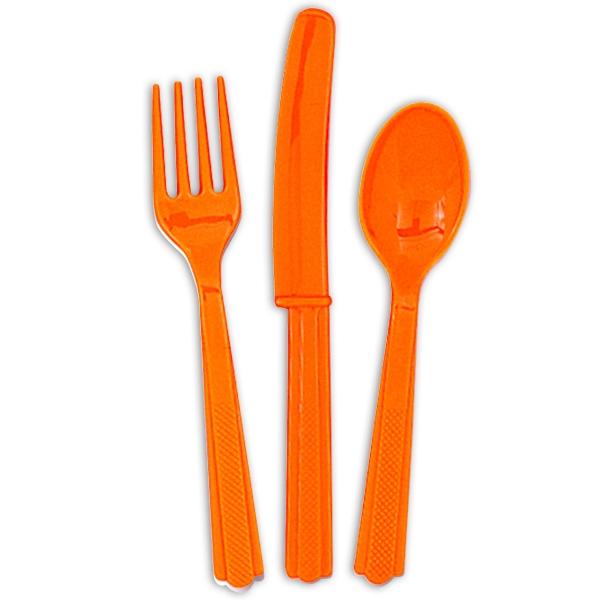Plastikbesteck orange, je 6 Messer, Gabel, Löffel, Einwegbesteck 18tlg.