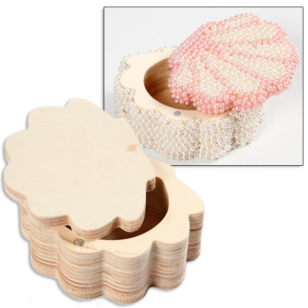 Muschel Kästchen aus Holz, 8cm x 6cm