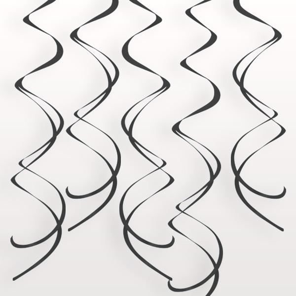 """Deko-Spiralen """"Schwarz"""" aus Folie, je 60 cm lang, Hängedeko im 8er Pack"""