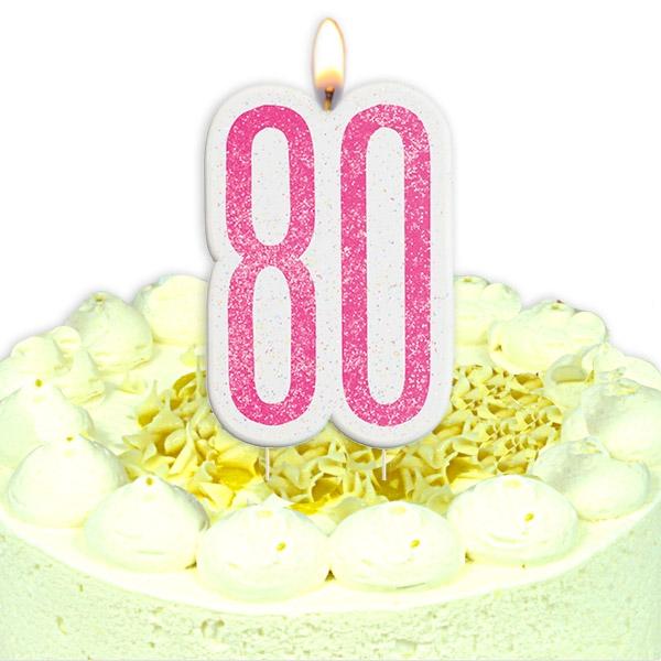 Geburtstagskerze Zahl 80, in glitzerndem Pink für Torten