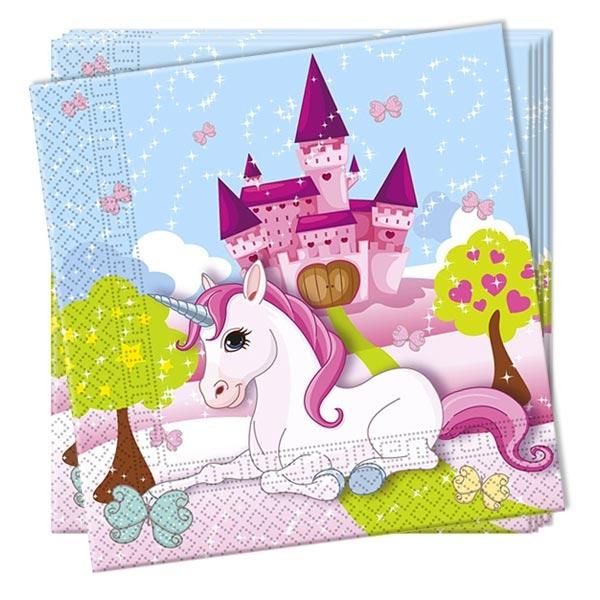 Papierservietten mit süßem Einhorn, märchenhaftes 20er Pack, 33cm
