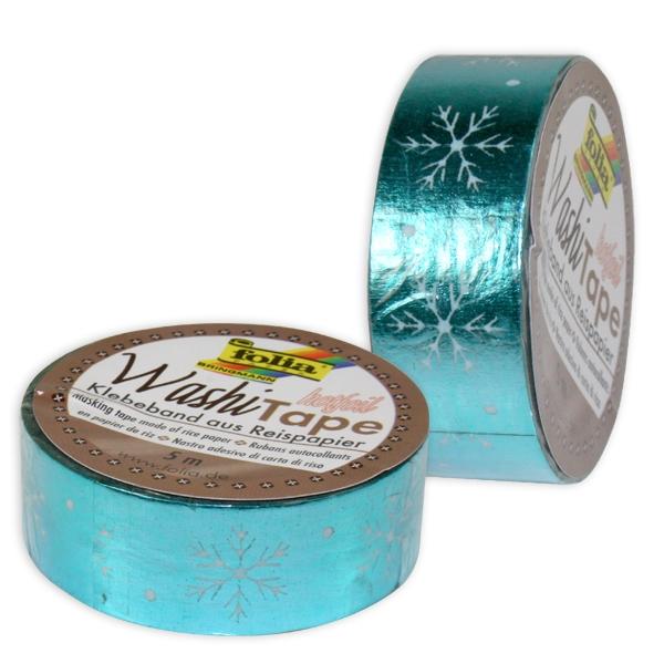 Washi Tape mit Heißfolienveredelung, 1 Rolle, eisblau Schneeflocken