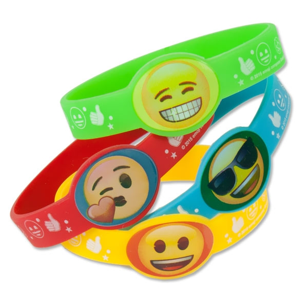 Emoji Rainbow Fun Silikon Armbänder, 4 Stk