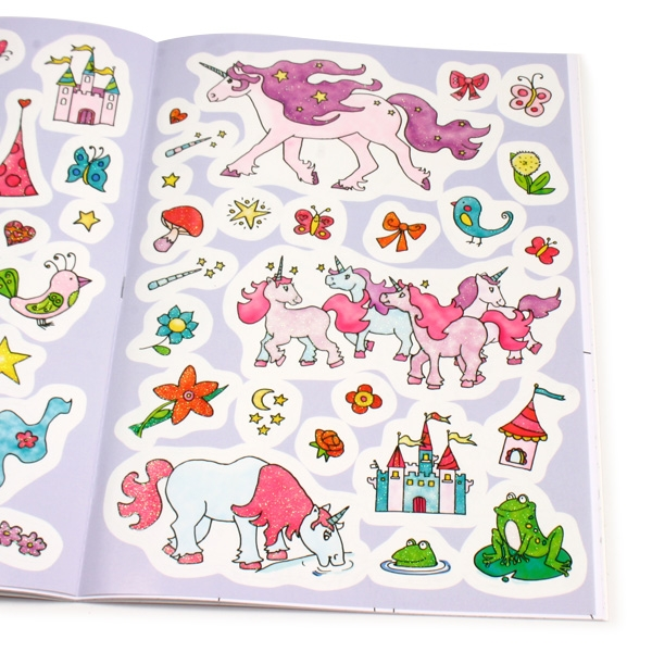 Glitzer-Sticker Malbuch - Einhörner, 45 Glitzersticker, 32 Ausmal-Seiten