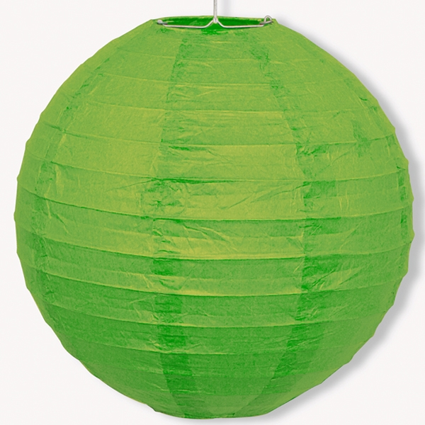 Papier-Lampion Grün, 25cm, mit Metallbügel +Schnur zum Aufhängen