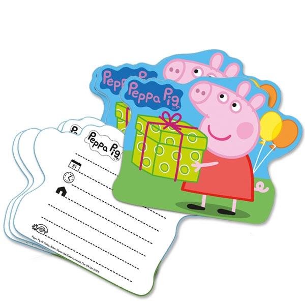 Peppa Pig Einladungskarten 6er Pack DINA6