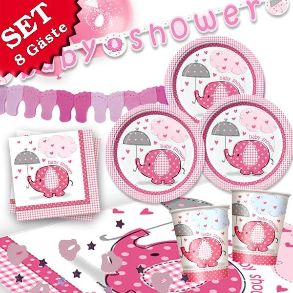 Baby Shower Partyset Girl 44 -tlg. mit süßem Elefanten für Mädchen