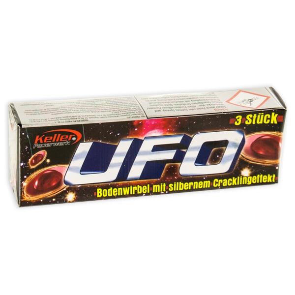 Wirbelnde UFO's, 3 Bodenwirbel mit Silbereffekt, Ganzjahresfeuerwerk