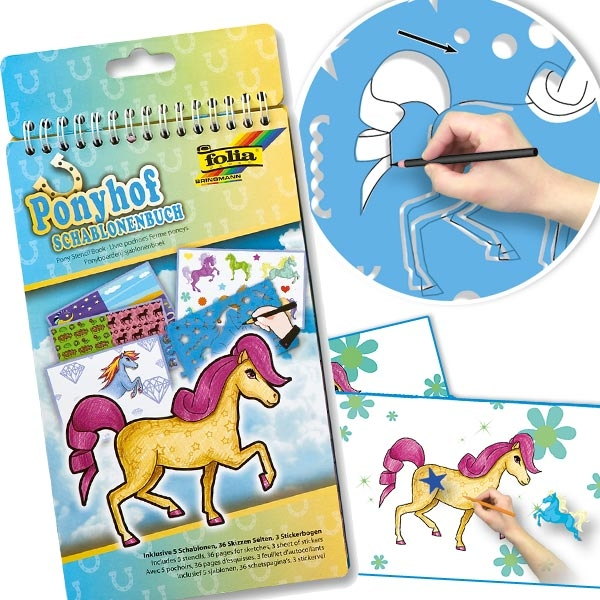 Ponyhof Schablonenbuch 14 × 28 cm, Malschablonen für tolle Ponys