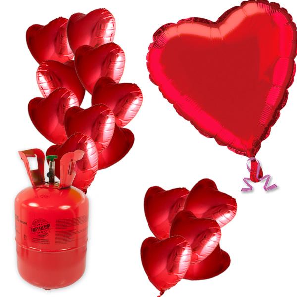 Helium Ballongas-Set zum Valentinstag, 1 Heliumflasche plus 15 Folieballons