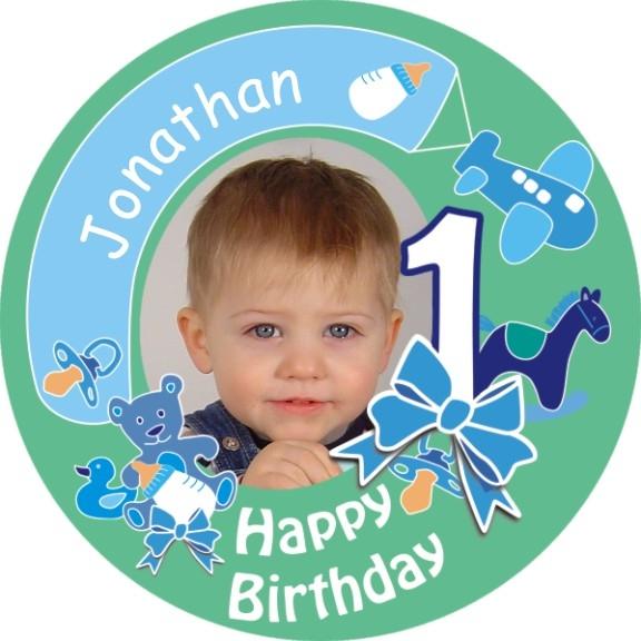 1. Birthday Tortenbild mit Foto und Namen – rund