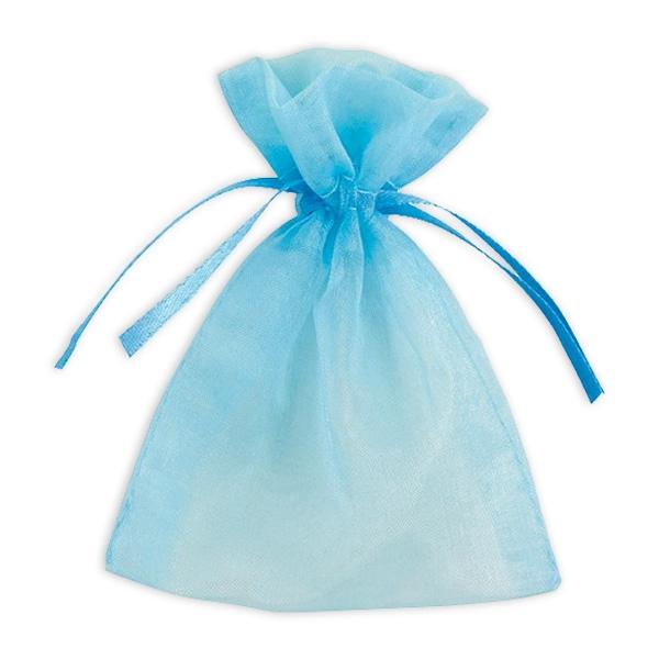 Geschenktaschen in Babyblau aus hochwertigem Organza, 10 Stück