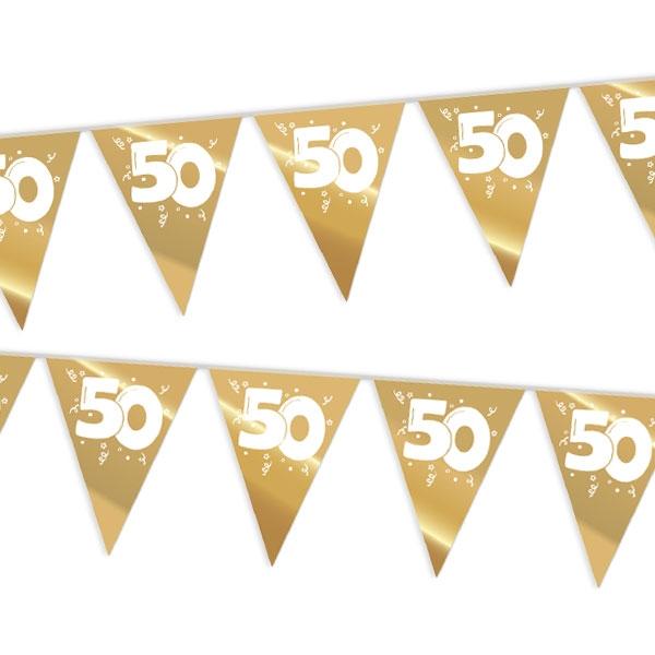 """Wimpelkette, gold  Zahl """"50"""", für Goldhochzeit/50. Geburtstag, 10m"""
