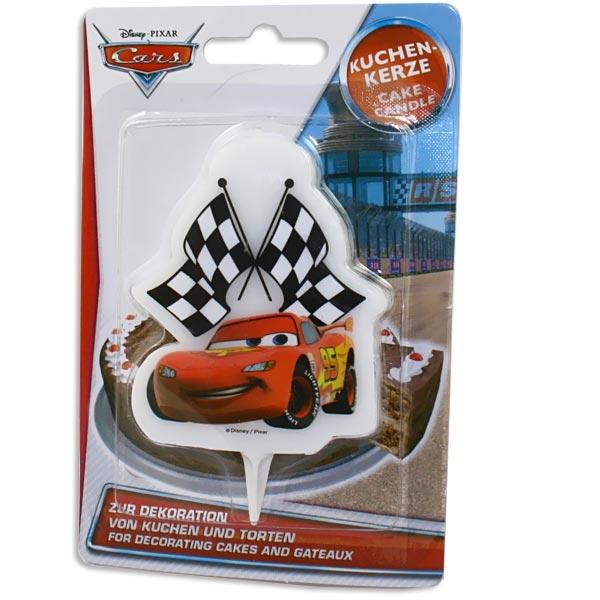 Cars Motivkerze 10 x 1 cm aus Wachs, 1 Kuchenkerze als Lightning McQueen
